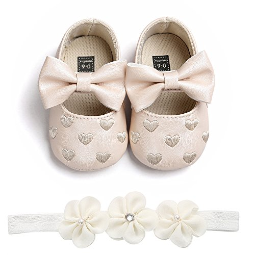 K-youth Zapatos Bebe Niña Primeros Pasos Zapatos Bebe Recien Nacida Zapatos Bebe Niño Bautizo Bowknot Zapatos para Bebe Zapatos De Bebé con Suela y Diadema de Flores(0-6 Meses, Caqui)