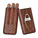 volenx Brown Crocodile Pattern Leather Travel Cigar Case 3 Tubes