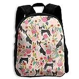 Basenji - Mochila para niños con diseño de perro tricolor rosa para niños y niñas, bolsa de viaje para niños y niñas