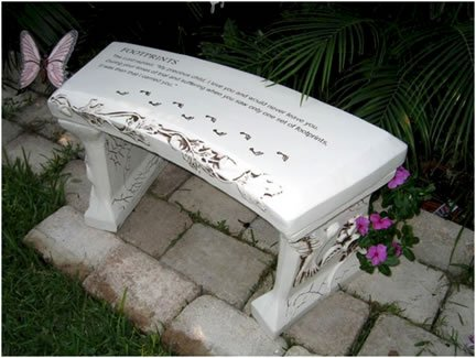 Southwest Graphix Hand Crafted 'Footprints' Cast Stone Garden Bench Personalization Available