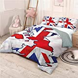 Union Jack Bed Sheets Set Twin, Microfiber Sheet Set 3 Piece Bed Sheets Country Map Flag Soft Bedding - Twin 68'x90'