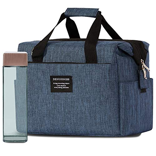 BentoEcoPro - Stylish Reusable Insulated Lunch Bag for Work with Square Bottle in Unique Ecofriendly Kraftpaper Gift Box - Oxford Blue Waterproof Textile - BPA-free 15 oz. Clear Blue