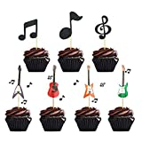 48 PCS Music Notes Cupcake Toppers Guitar Cake Toppers for Kids Birthday Musician Party Wedding Baby Shower Party Music Themed Party