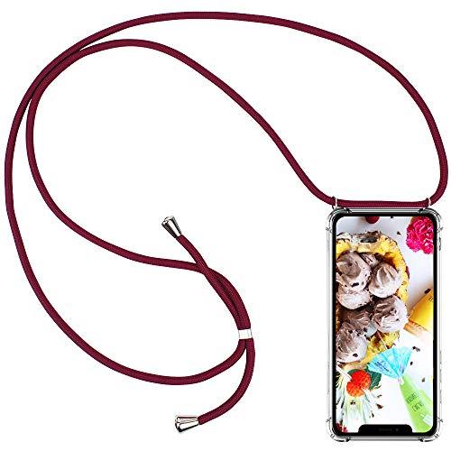 CLM-Tech Cover Girocollo Compatibile con Apple iPhone 11 PRO Max (6.5 Pollice) - Custodia con Cordoncino - Silicone Case Trasparente Tracolla Collana, Rosso
