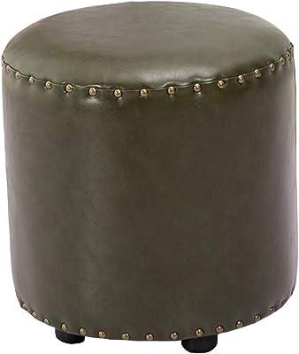 Amazon.com: HM & DX - Taburete otomano redondo de piel ...