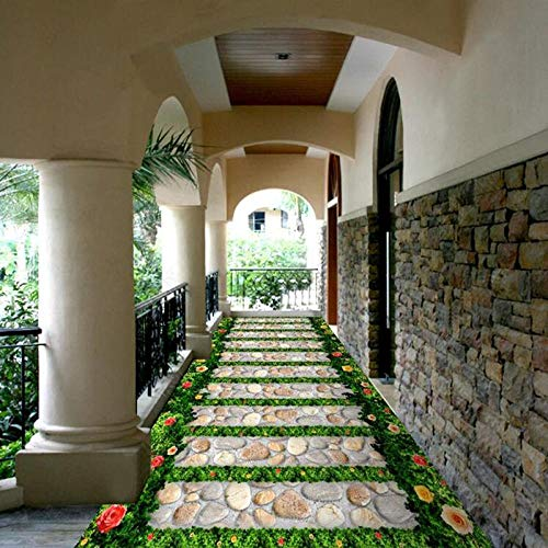 ZJfong PVC behang 3D tuintegels vloer muurbehang woonkamer balkon badkamer waterdichte Sticker huisdecoratie 140x70cm