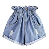 JOFOW Womens Denim Shorts Pleated Ruffle Distressed Ripped Trousers A Line Loose High Waist Casual Fashion Cowboy Mini Pants (M,Blue)