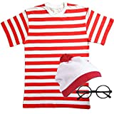 (11-12 years, Shirt+Hat+Glasses) - Childrens Red & White striped fancy dress 3 PIECE SET (11-12 years)