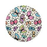 Arte Simpatica Farfalla Colorata Tovagliette Rotonde Lavabili Set di 1/4/6 Tovaglietta Antiscivolo Resistenti al Calore Decorazioni per Cena Party Tavolo 39cm