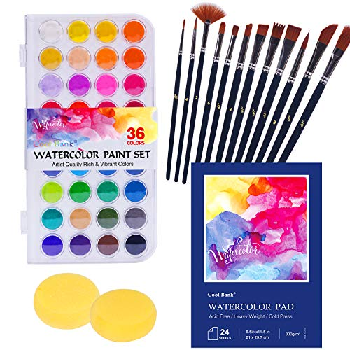 Watercolor Paint Set, Painting with Palette, Includes 36 Premium Paints, 1x24 Page Pad(A4), 12 Brushes, 2 Art Sponges and Gift Box, for Artists,Students and Kids