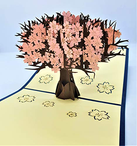 BC Worldwide Ltd handmade 3D pop up card pink sakura cherry blossom happy birthday card,wedding anniversary,bridal shower,mother's day,thank you,blank greetings