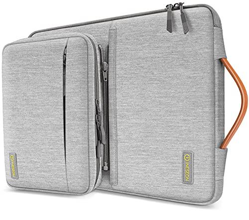 INESEON 14 Pulgadas Funda Ordenador Portátil para 14'' Acer ASUS DELL HP Lenovo Huawei Chromebook Ultrabook, Funda Blanda Protectora con Bolsa de Accesorios Desmontable y Asa, Gris