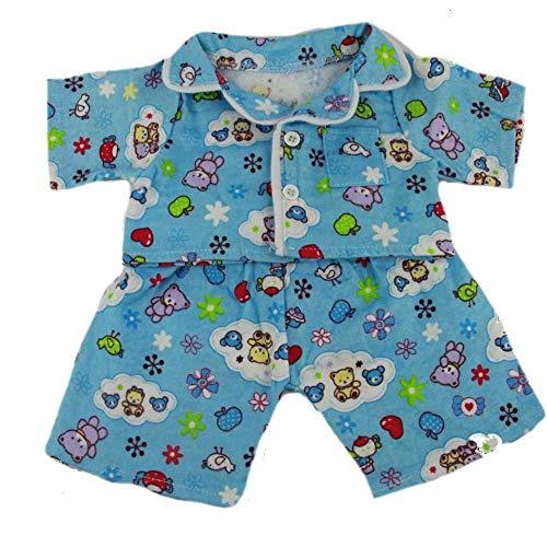 niedlichen blauen Pyjama Teddybär Outfits Kleidung für 40cm Teddybären und Build-a-Bear