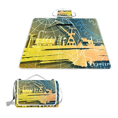 GEEVOSUN Picknickdecke Wasserdicht,Energie Power Icons Set Grunge Pinsel,für den Außenbereich,faltbar,Picknick-Matte für Strand,Camping,Wandern