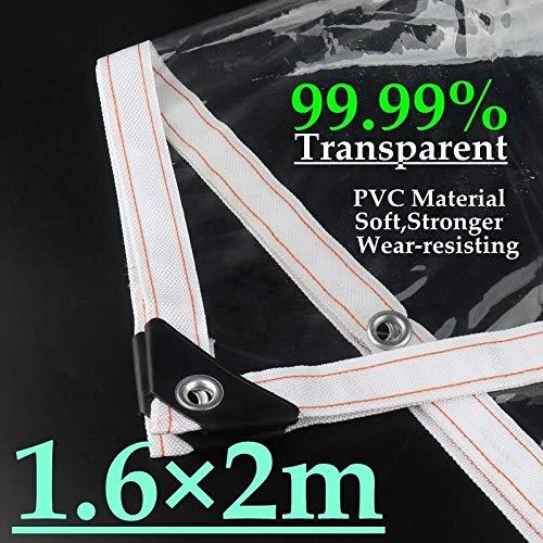CROSYO 1pc 99,9% transparent PVC-Plane Zelt Abdeckung Windows-windundurchlässiges wasserdichtes Tuch Shelter Klar Regenschutz Garten Tarp Segel (Farbe : 1.6m x 2m)