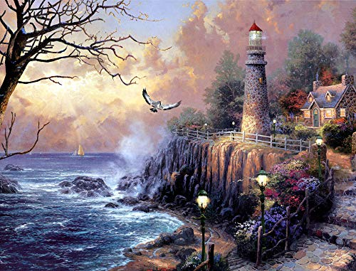 5D Diamond Painting Kits for Adults, Full Drill DIY Diamond Art Kits, Lighthouse Crystal Rhinestone Embroidery Pictures, Diamond Arts Craft for Home Wall Decor,12x16inch