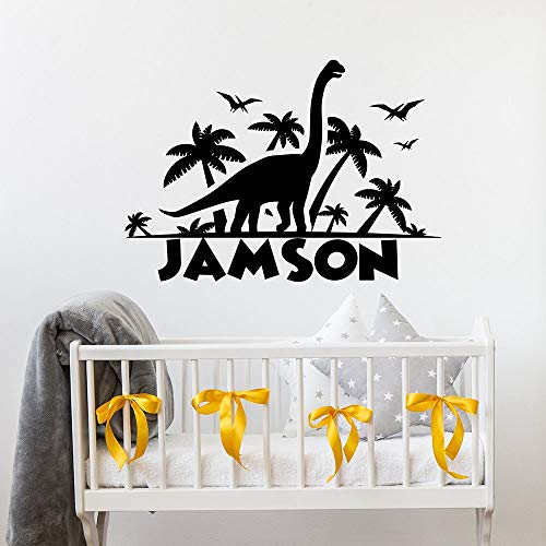 Dinosaurio calcomanías de pared personalidad nombres de niño dormitorio de niños habitación de bebé jardín de infantes decoración del hogar arte de dibujos animados pegatinas de ventana de vinilo