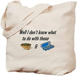 CafePress Tossed Salad & Scrambled Eggs Natural Canvas Tote Bag, Reusable Shopping Bag