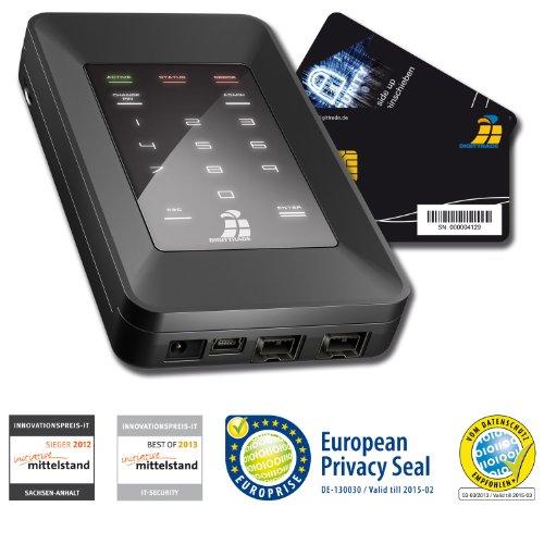 Digittrade HS256S 250GB SSD Externe Festplatte (6,35 cm (2,5 Zoll) USB 2.0) mit 256-Bit AES Hardware-Verschlüsselung, Smartcard und PIN schwarz