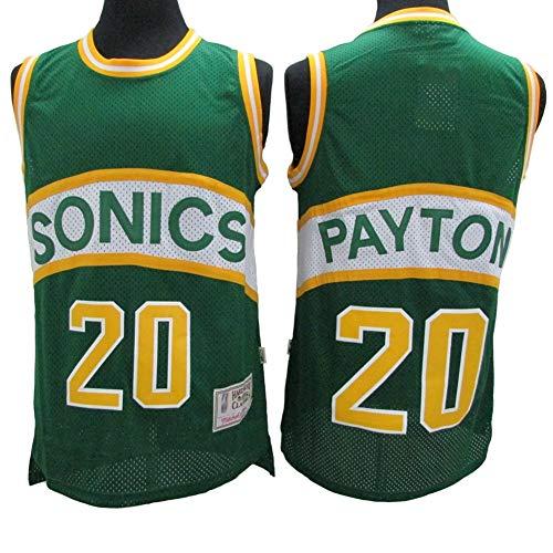 XH-Sport Herren Basketball Kleidung, Gary Payton # 20 Seattle Supersonics Classic Trikot, Vintage Cool Atmungsaktives Gewebe All-Star Unisex Fan Uniform,XXL(190cm/95~110kg)