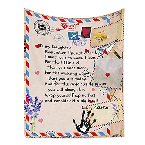 Blanket Letter Message to My Daughter Even When I'm Not Close by I Want You to Know I Love You from Dad or Mom Soft Warm Bed Blanket 50x60inch