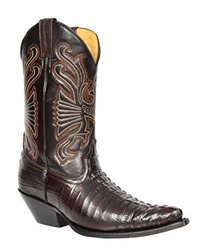 House of Luggage Herren Echte Leder Cowboy Stiefel Western Absatz Wadenlänge Spitz Zehe Schuhe HLG03CA (EU 42, Braun)