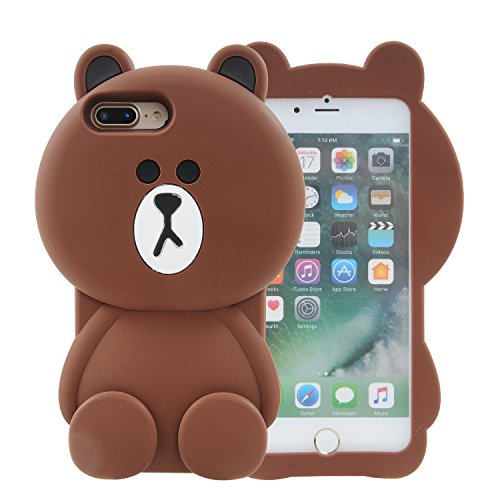 iPhone 7 Plus Case, iPhone 8 Plus Case, 3D Cute Cartoon Soft Silicone baby brown bear Gel Back Cover Case for Apple iPhone 7 Plus 2016 / iPhone 8 Plus 2017 Case Amp Prime (33)