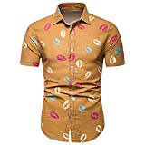 Camisa Hombre Moderna Urbana Tendencia Moda Labios Estampado Hombre Shirt Verano Básico Ajustado Elástico Botón Placket Manga Corta Playa Shirt Creativa Casual Streetwear E-Yellow M