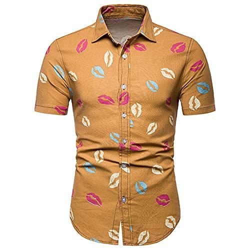 Camisa Hombre Manga Corta Slim Fit Tapeta con Botones Cuello Kent Hombres Camisa Casual Vintage Kiss Print Hombres Camisa De Playa Tendencia Urbana Hombres Top E-Yellow M