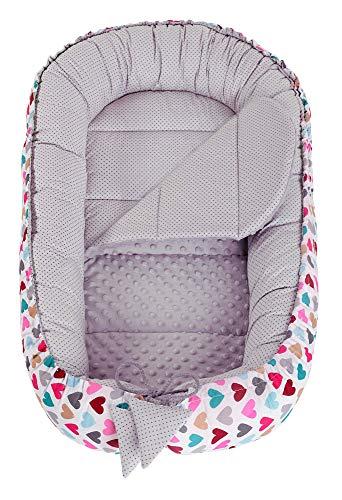 Babynest Kuschelnest Babynestchen 100% Baumwolle Nestchen Reisebett für Babys Säuglinge Medi Partners 90x50x13cm herausnehmbarer Einsatz (bunte Herzen mit grauen Minky) - 2