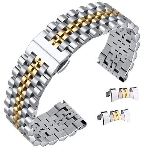 20 millimetri deluxe cinturino stile giubileo d'argento in acciaio inox due toni e oro con chiusura a farfalla