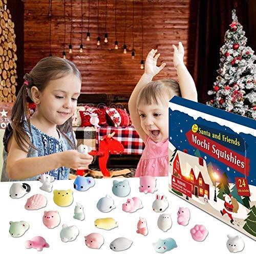 NDL Advent Calendar 2020 Christmas Countdown Calendar 24Pcs Mochi Squichy Toys Cute Animals Squichies Christmas Party Favors for Girls Boys 1PC-C
