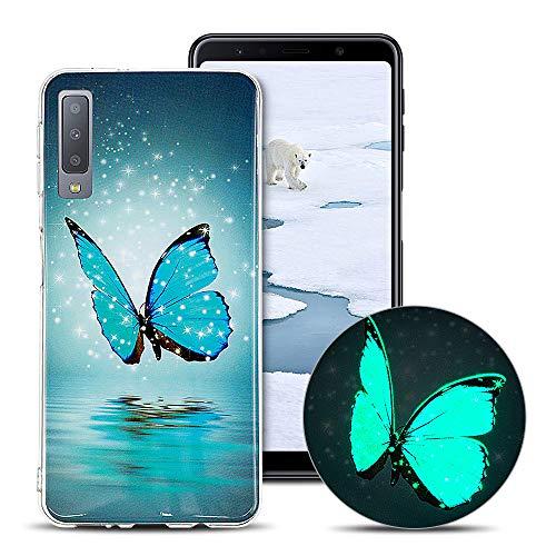 CaseLover Cover per Samsung A7 2018, Nottilucenti Luminoso TPU Silicone Custodia per Samsung Galaxy A7 2018 Ultra Sottile Fluorescente Flessibile Protettiva Copertura Morbida Case AntiGraffio Bumper