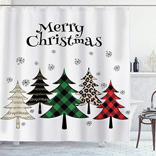 AMBZEK Frohe Weihnachten Cartoon Baum Duschvorhang Buffalo Karo Bäume Schneeflocke Bauernhaus Kunstwerk Stoff Badezimmer Dekor Set mit 12 Pack Haken 152 x 180 cm, bunt