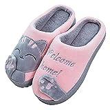 BaiMoJia Femme Homme Chaussons Chaud Maison Mignon Chat Chaussures Confortable Coton Hiver Pantoufles(36-37,Pink)