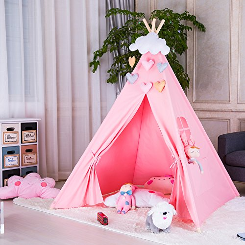 Triclicks Kids Teepee Play Tent - Indian Children Play House - 100% Cotton Canvas Princess Girls Tent for Indoor and Outdoor (Pink)