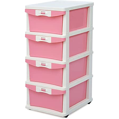 Nilkamal CHST24 4 Layers Plastic Cabinet Drawer Pink Rectangular 14x17x32