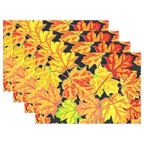 Promini Hitzebeständige Platzsets, Herbstlaub, Ahorn-Fliesen, waschbar, Polyester, rutschfest, waschbar, Platzsets für Küche und Esszimmer, 4 Stück