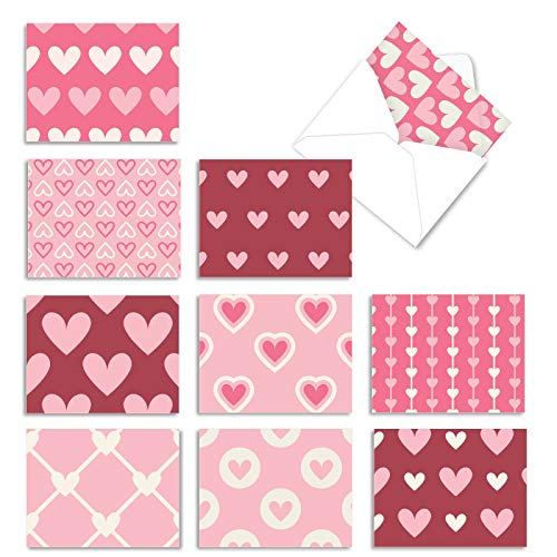 The Best Card Company - 10 Blank Heart Note Cards Boxed (4 x 5.12 Inch) - All Occasion Heartfelt Love Assortment - Heartfelt M3058