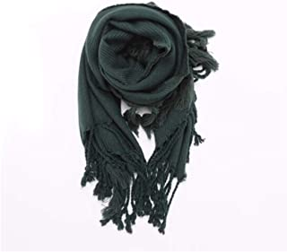 MUZIWENJU Shawl Scarf, Ladies Autumn and Winter Thick Three-Faced Long Tassel Scarf (Green, Black) (Color : Green)