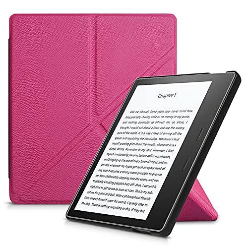 Capa Kindle Oasis 3 - Auto Hibernação - Fechamento Magnético - Origami - Rosa Choque