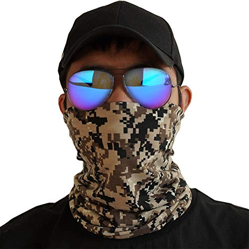 Digital Camo Neck Gaiter Face Mask Men Scarf Reusable Face Coverings for Biking Cycling Hiking Running