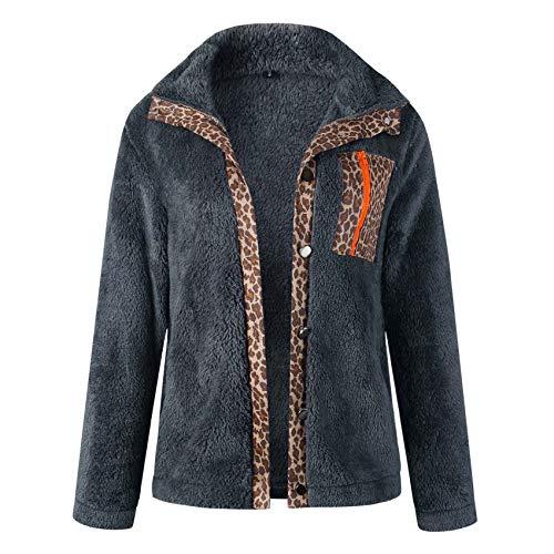 Autumn And Winter Sexy Leopard Print Zipper Button Long Sleeve Blouse Gray
