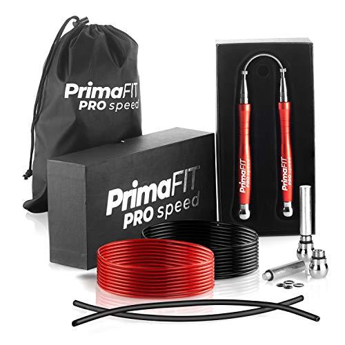 PrimaFIT Pro Speed Corda Per Saltare Professionale Con Pesi, Corda Salto Crossfit Pesante Regolabile Jump Rope Boxe, Cuscinetti a Sfera, Autobloccante, Alluminio, Perdita Peso,2 Cavi d Acciaio & Borsa