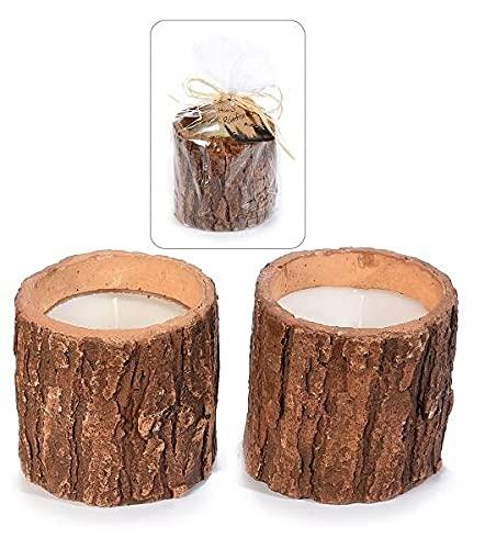 Candele Eco - Wood - Set di 2 candele profumate in vaso riutilizzabile - Con omaggio in carta Piantabile - Idea Regalo - 2 pezzi - MAS-ECOMMERCE