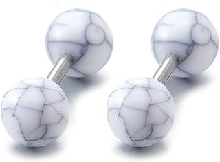 Bianco Modello di Marmo Bilanciere Palla Orecchini da Uomo Donna, Finto Dilatatore Fake Cheater Plug Gauges, Acciaio