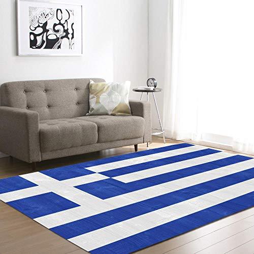 WZZSKE Alfombras Salon Grandes Modernas ultrasuaves y Grandes Antideslizantes para Dormitorio y Sala de Estar Rayas geométricas Blancas Azules Alfombra Tamaño: 120 x 170 cm