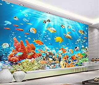 Fotomurales 3D Papel Pintado Submarino Animal Acuario Peces Tropicales Murales, Niños Dormitorio Cartoon Decorar Wallpaper