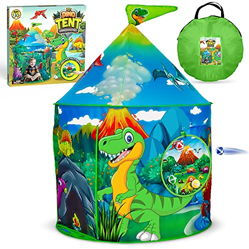 YoYa Toys Tienda de campaña de dinosaurios para niños y niñas   Dino plegable para interiores y exteriores, casa de juegos con juegos y bolsa de transporte   Adorable tienda de juegos para niños es una gran idea de regalo