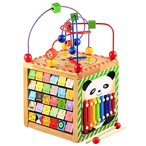 Lewo Wooden Activity Cube Bead Maze Learning Educational Toys Activity Center for Toddlers Babies Kids Boys Girls (Cube Bead Maze)